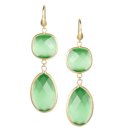 Cat's Eye Lime Double Dangle Earrings