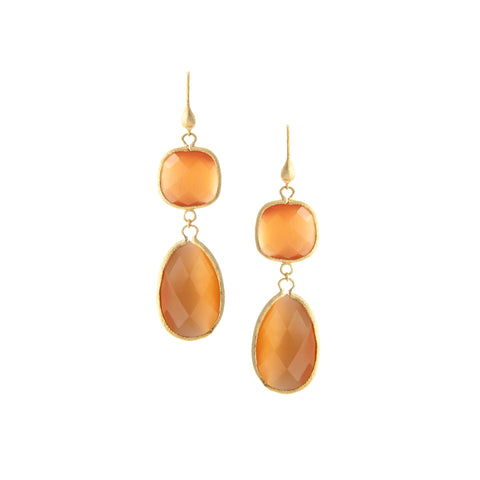 Cat's Eye Orange Double Dangle Earrings