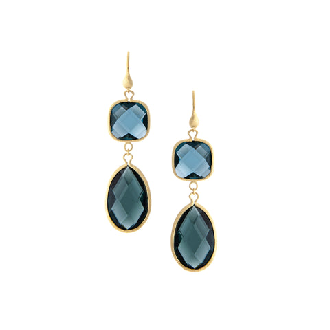 Denim + Platinum Gray Double Dangle Earrings