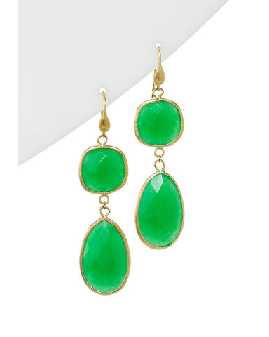 Green Quartzite Double Dangle Earrings