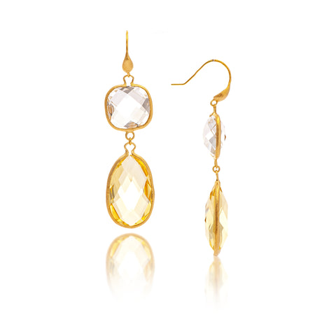 Rock Crystal + Lemon Double Dangle Earrings