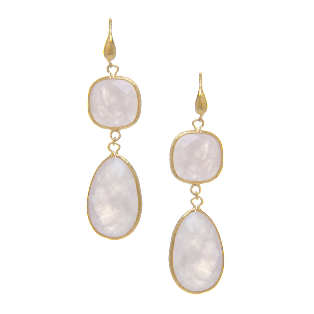 Rose Quartz Double Dangle Earrings