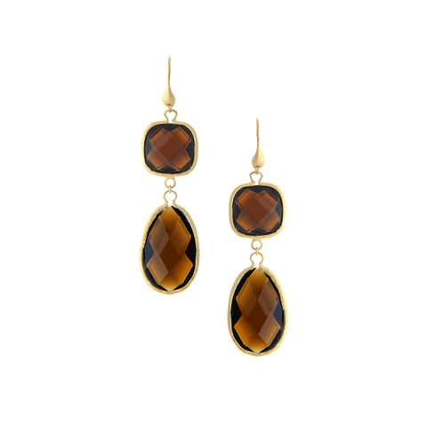 Smokey Double Dangle Earrings