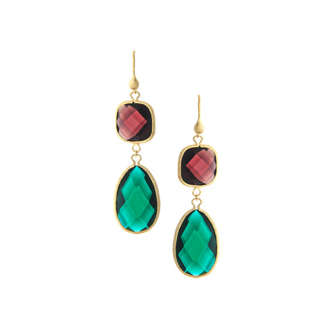 Tourmaline + Emerald Dangle Earrings
