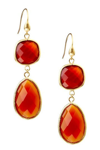 Carnelian Double Dangle Earrings