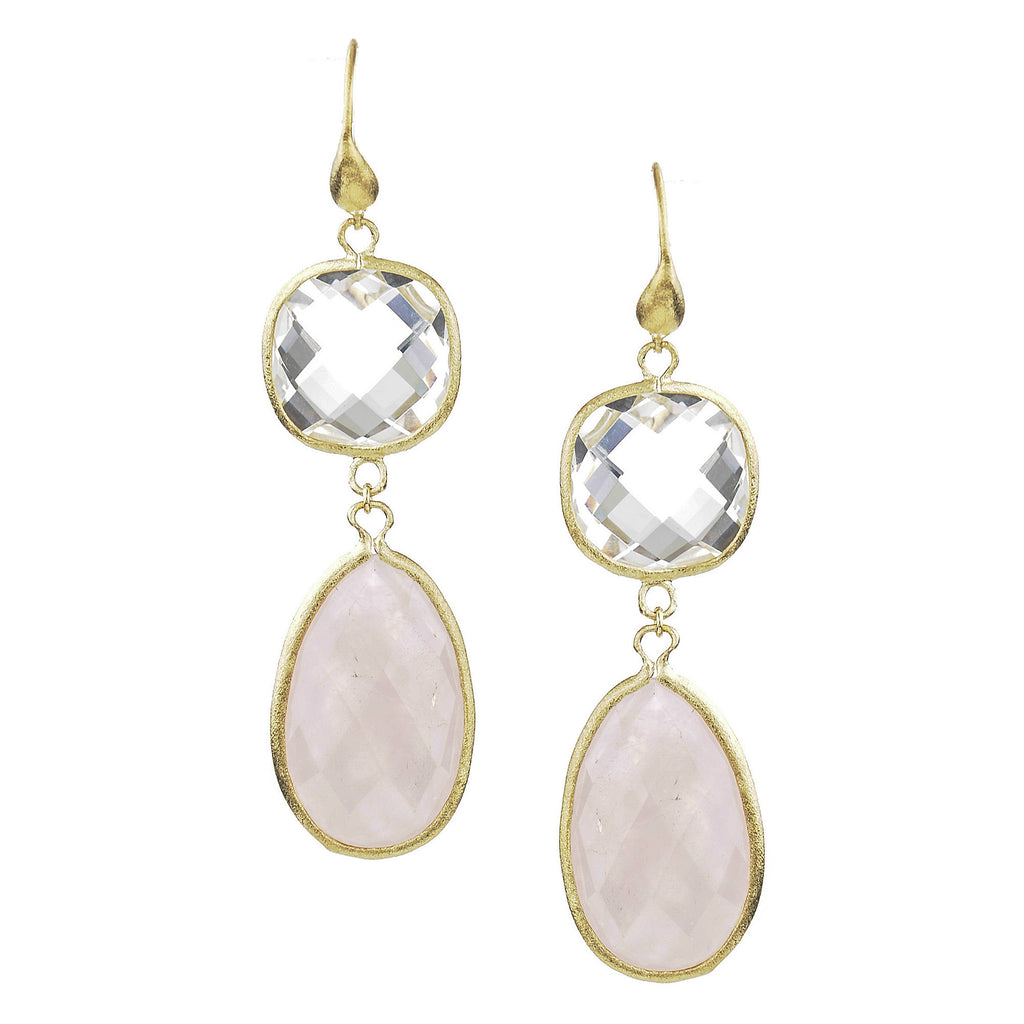 Rock Crystal + Rose Quartz Double Dangle Earrings