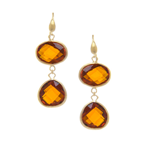 Amber-Citrine Double Dangle Earrings