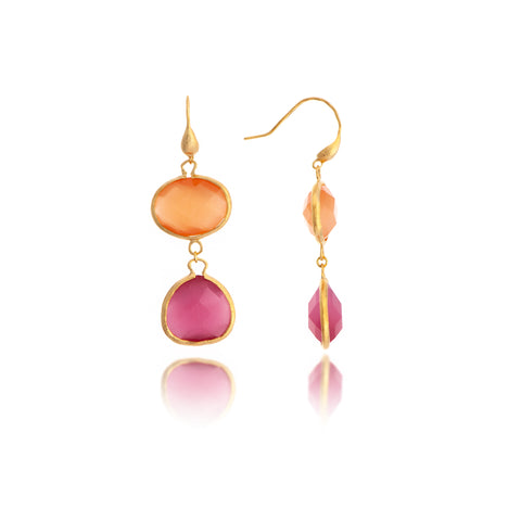 Cat's Eye Orange + Raspberry Double Dangle Earrings