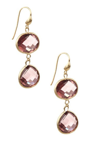 Raspberry Tourmaline Double Dangle Earrings