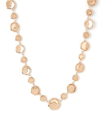 Rose Gold Polished Concave Disc Necklace