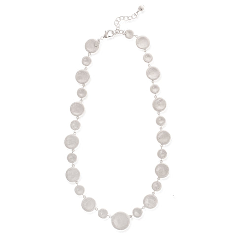 White Rhodium Polished Concave Disc Necklace