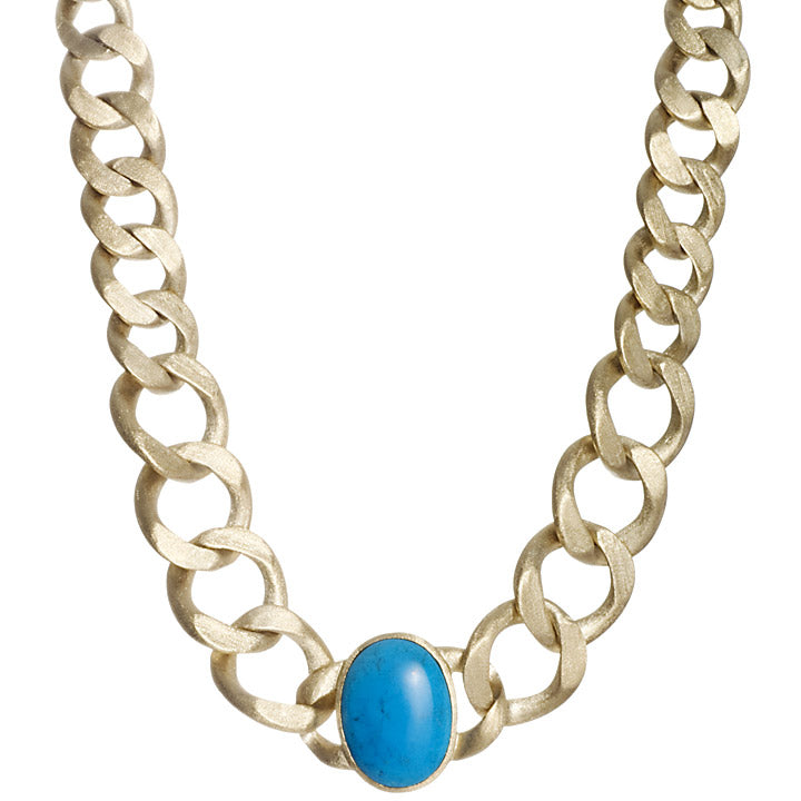 Magnesite Satin Curb Link Necklace - Closeout