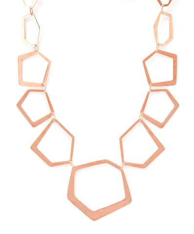 Rose Gold Polished Deco Shaped Necklace