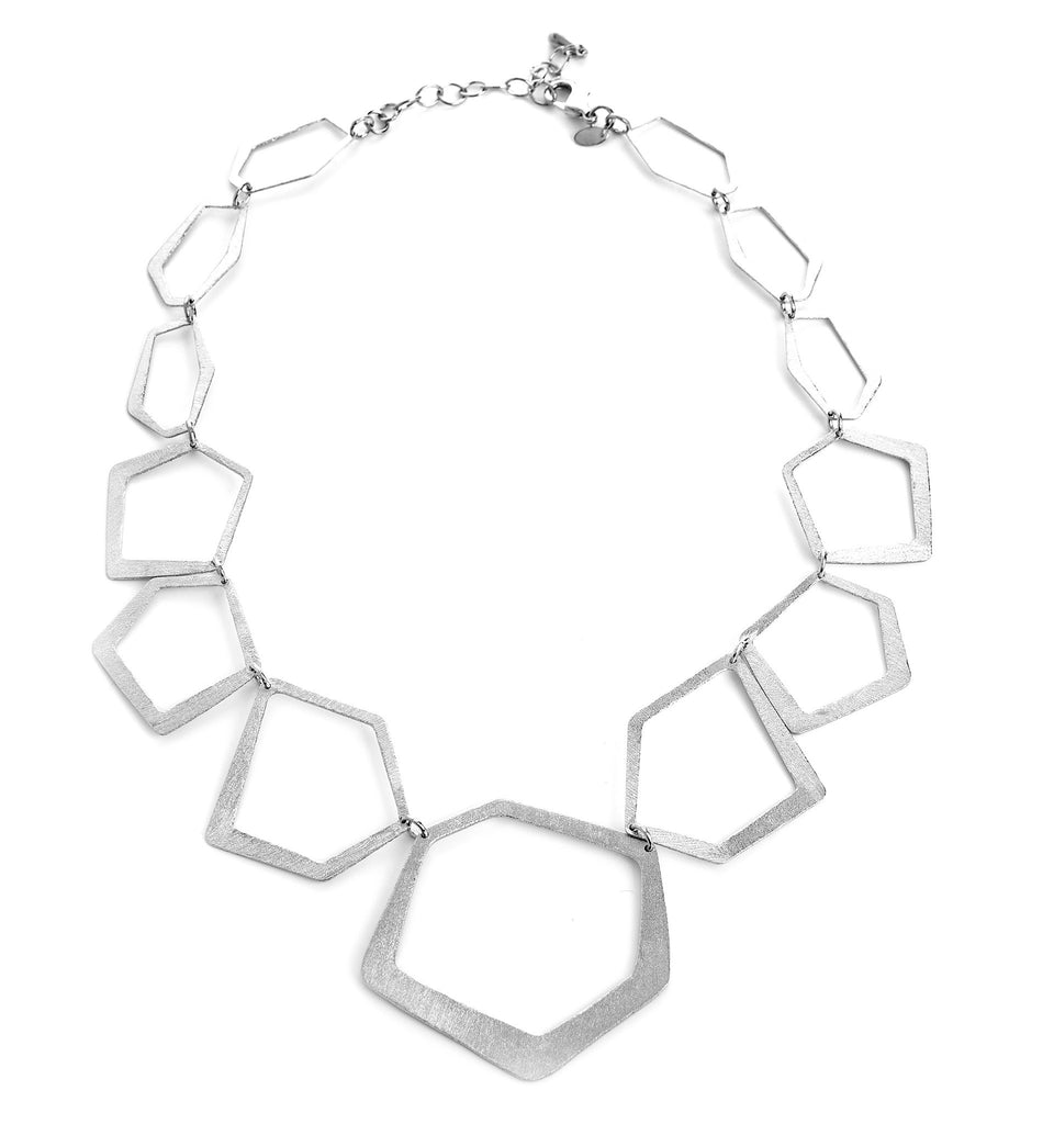 Rhodium Geometric Necklace