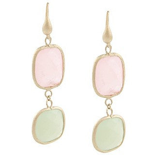 Rose Quartz + Green New Jade Double Dangle Earrings
