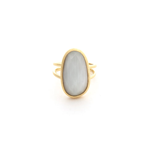 Cat's Eye White Ring