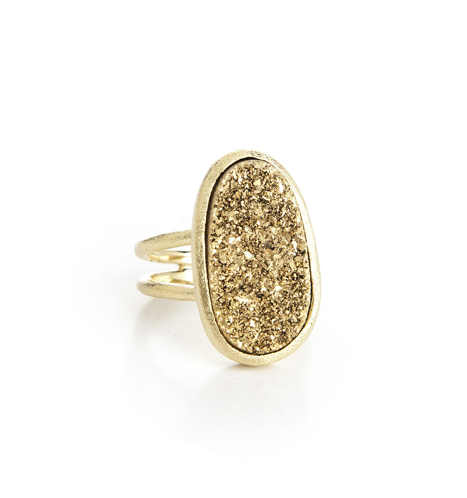 Gold Druzy Quartz Organic Ring