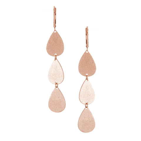 Rose Gold Triple Teardrop Earrings