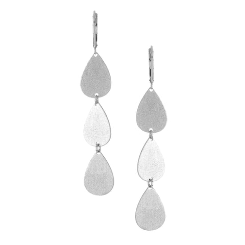 Rhodium Triple Teardrop Earrings