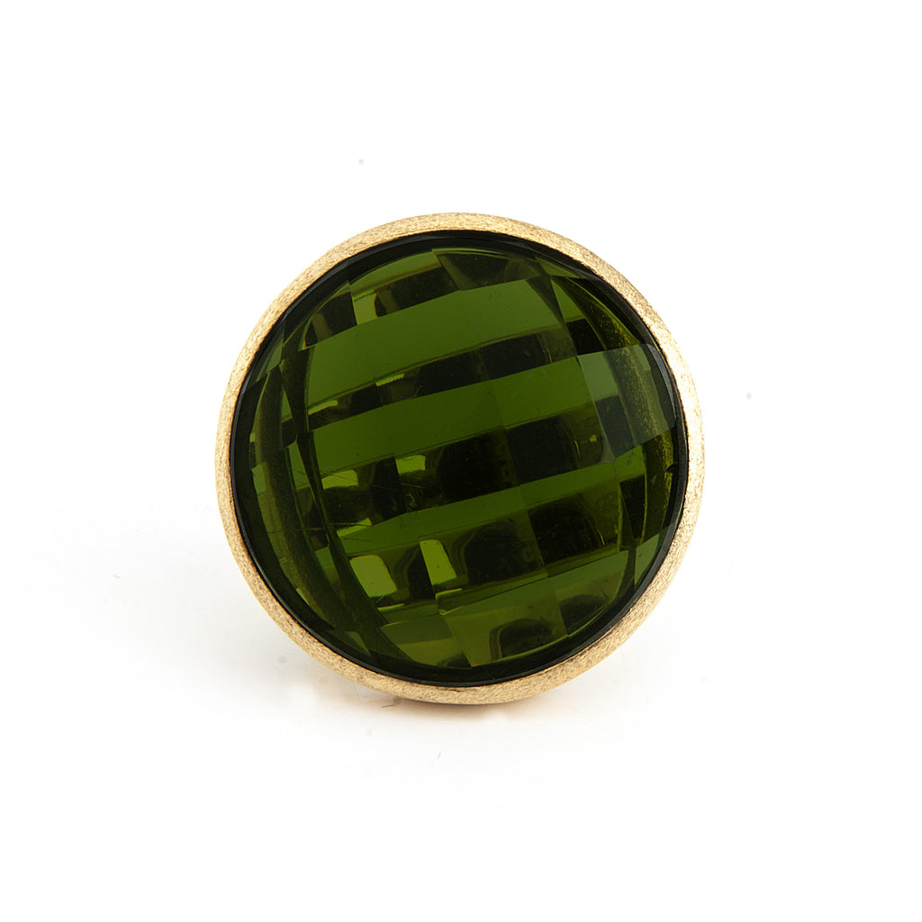 Peridot Crystal Round Cocktail Ring
