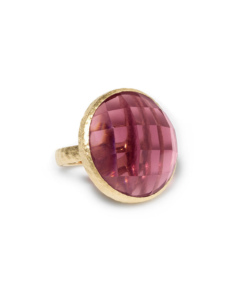 Tourmaline Crystal Round Cocktail Ring