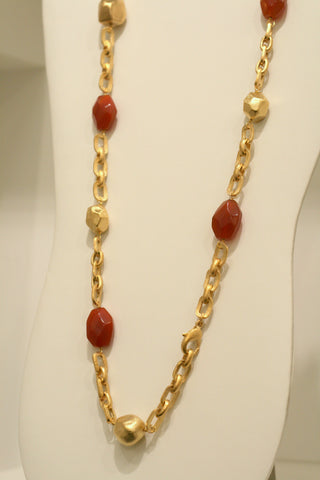 Carnelian + Satin Nugget Station Necklace
