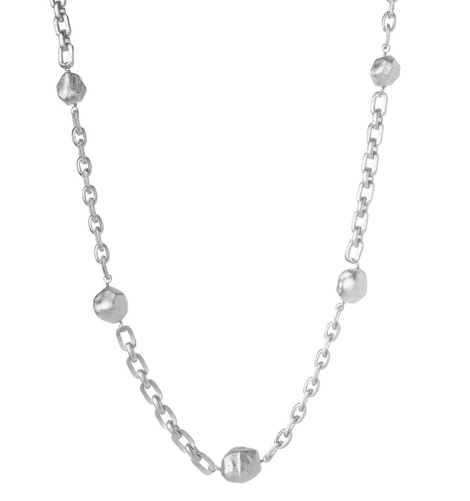 Rhodium Satin Nugget Station Necklace