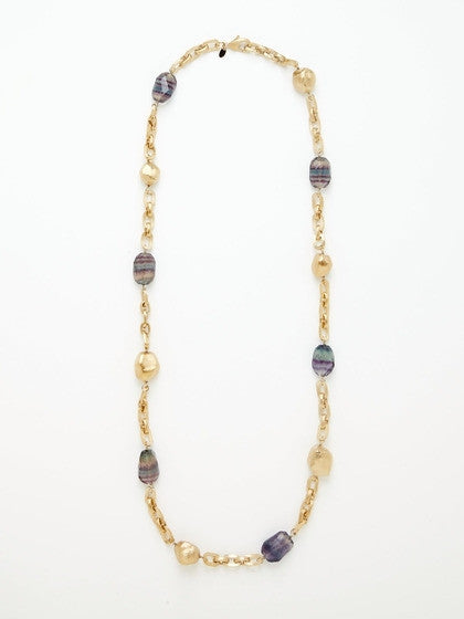 Fluorite + Satin Nugget Station Necklace