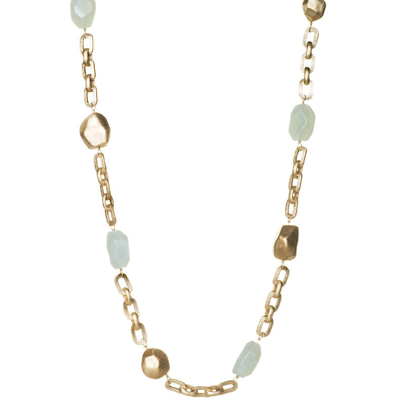 New Jade + Satin Nugget Station Necklace