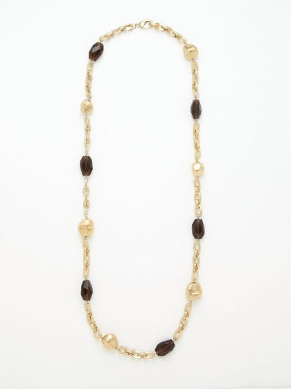 Smokey Crystal + Satin Nugget Station Necklace