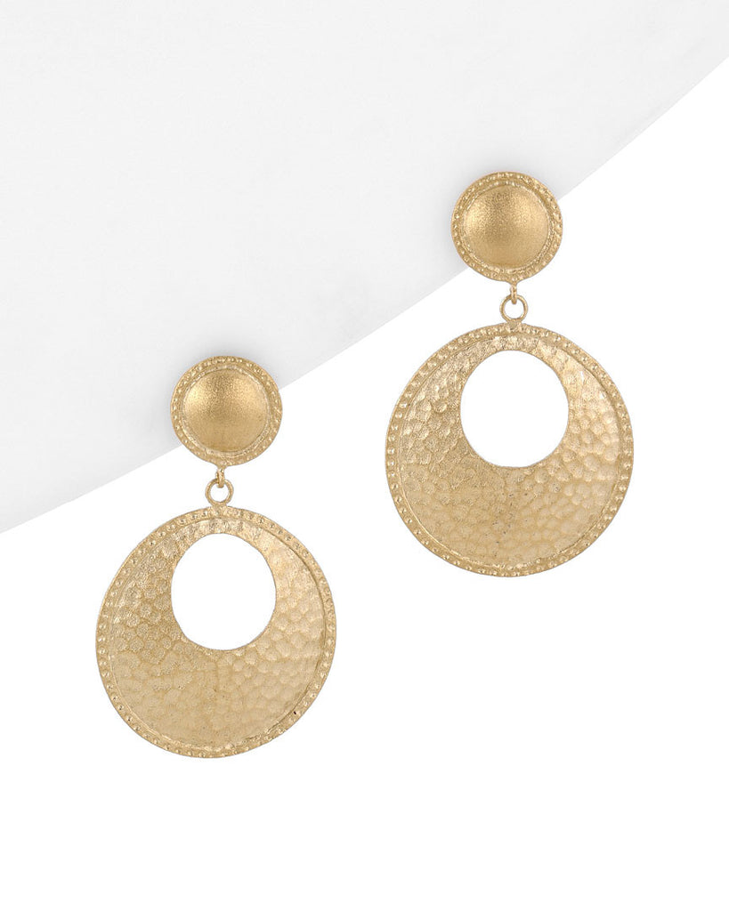 Hammered Satin Open Disc Earrings - Closeout