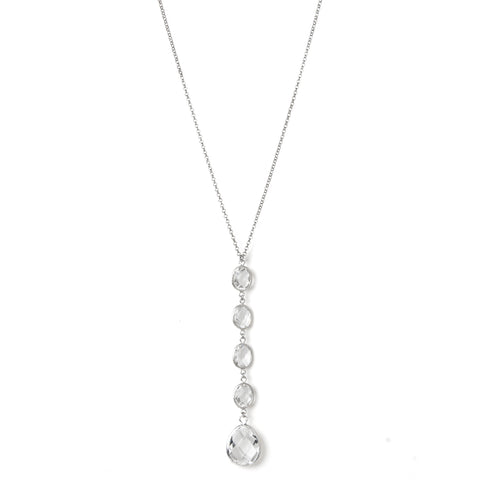 "Rhodium Rock Crystal ""Y"" Necklace - Closeout"