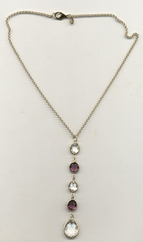 Amethyst + Rock Crystal Y Necklace - Closeout