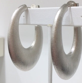 Rhodium Satin Oval Hoop Earrings - CLOSEOUT