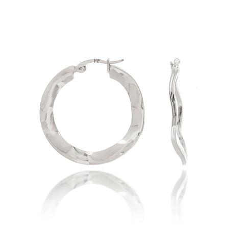 "Wavy Rhodium Polished 1"" Hoop Earrings"