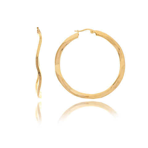 "Wavy Polished 2"" Hoop Earrings"