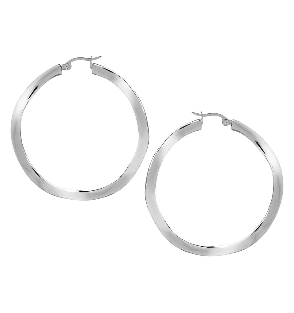 "Wavy Polished Rhodium 2"" Hoop Earrings"