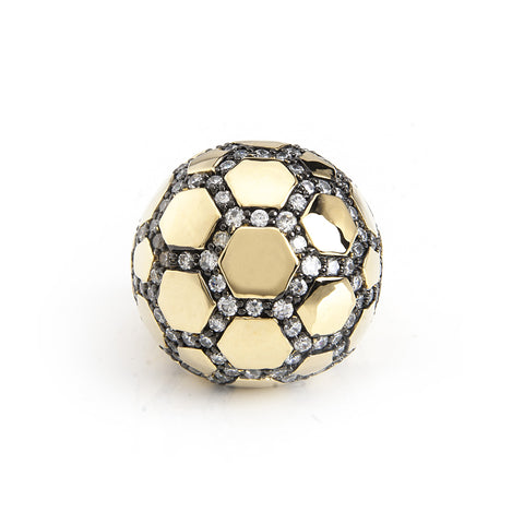 Simulated Diamond Two Tone Domed Cocktail Ring