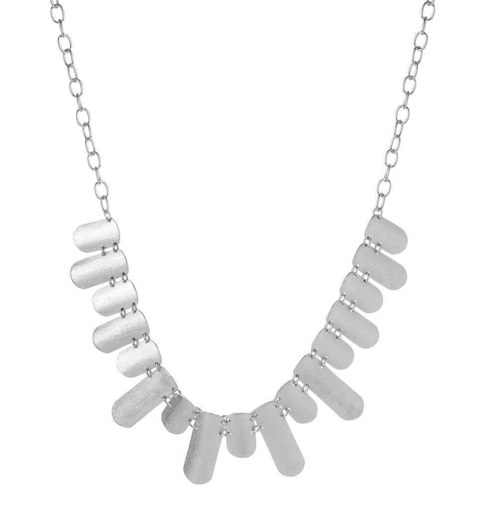 Rhodium Satin Statement Necklace