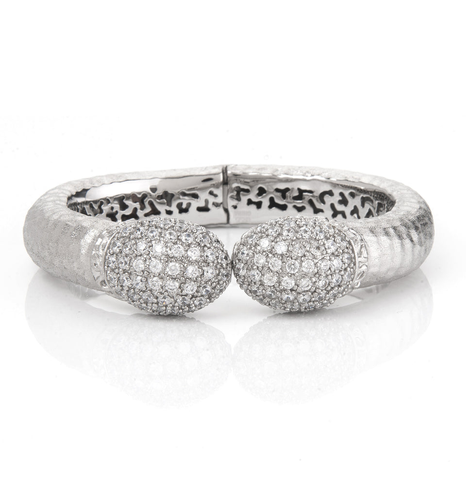 Rhodium + Simulated Diamond Hinged Bangle