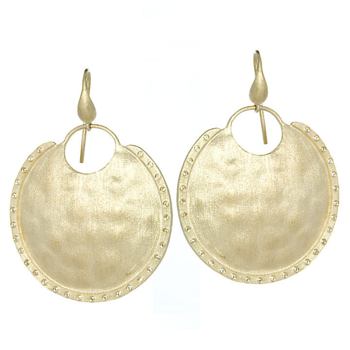Simulated Diamond Disc Earrings - Closeout
