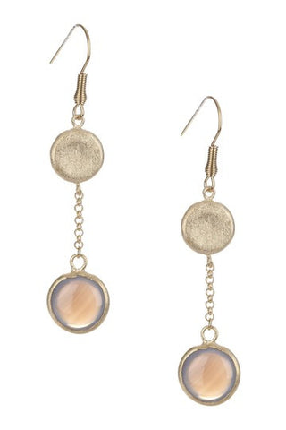Chalcedony Round Drop Earrings