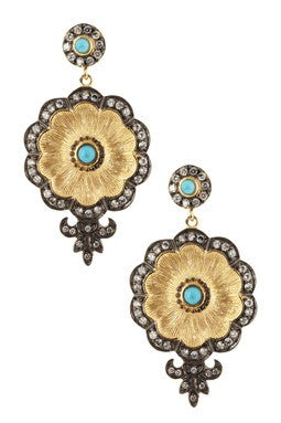 Magnesite & CZ Two Tone Earrings - Closeout