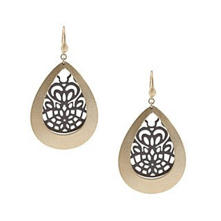 Two Tone Teardrop Earrings - Closeout
