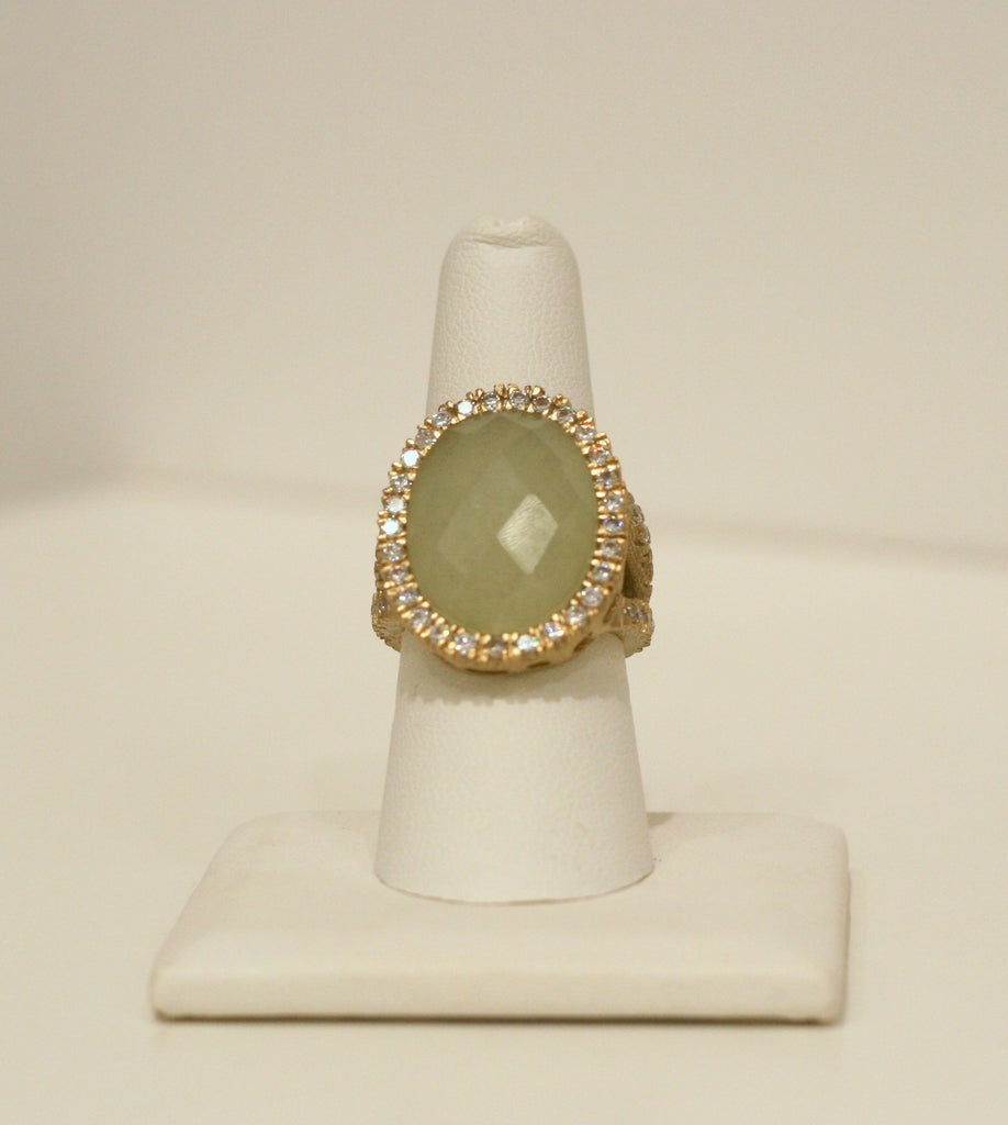 New Jade + Simulated Diamond Split Shank Ring - Closeout