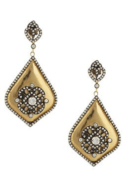 Two Tone Simulated Diamond Drop Earrings - CLOSEOUT