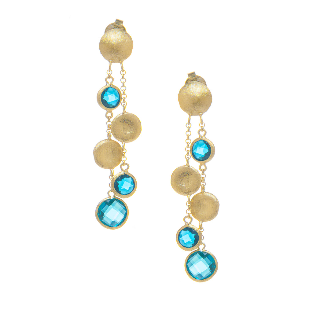 London Blue + Satin Coin Cascading Earrings