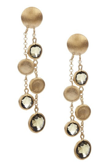 Smokey + Satin Coin Cascading Earrings