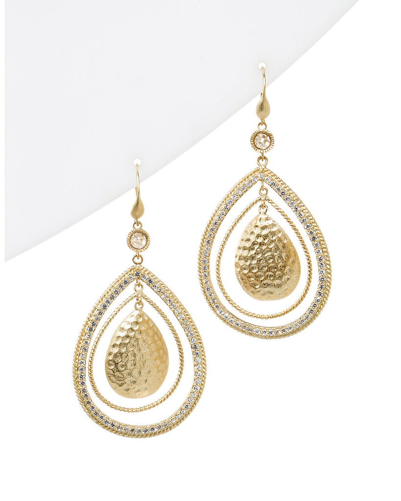 Simulated Diamond hammered Dangle Earrings
