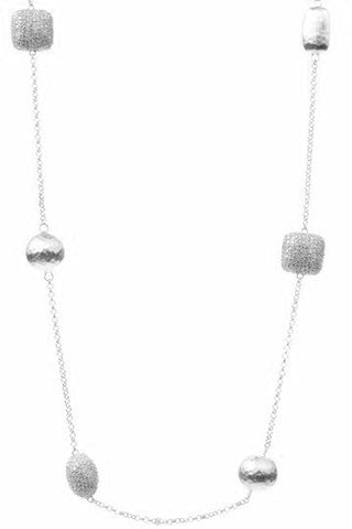 White Rhodium Simulated Diamond + Satin Bead Station Necklace